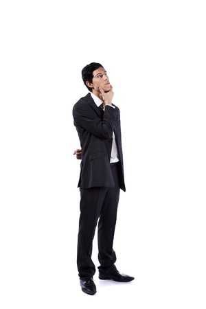 Successful businessman looking up to the copy space (isolated on white) Stock Photo - 10029552