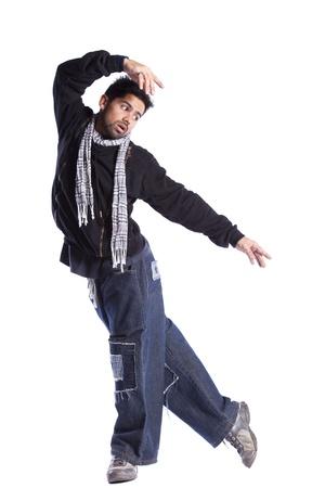 bailarin hombre: Bailarín de hip-hop mostrando algunos movimientos (aislados en blanco)