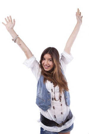 outstretched arms: Happy beatiful teenager woman with her arms up (isolated on white)