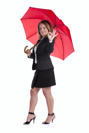 insurance businesswoman holding a red umbrella