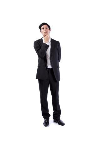 Successful businessman looking up to the copy space (isolated on white) Stock Photo - 10035611