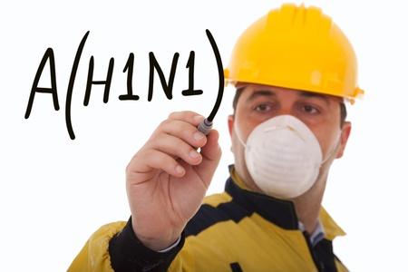 salud publica: los hombres que escriben una alerta mundial para la influenza porcina tipo A (H1N1) (atención selectiva) Foto de archivo