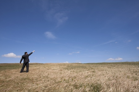 businessman looking away at the field and pointing to the sky photo