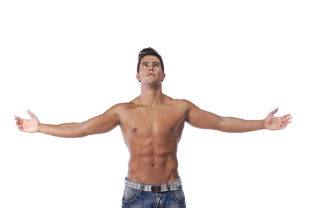 Young man with a perfect muscle body (isolated on white) Stock Photo