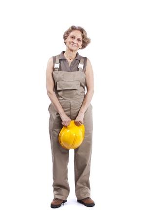 Do it yourself hanging with a hammer stock photo picture and 11017540 happy senior woman holding a safety hat isolated on white solutioingenieria Image collections