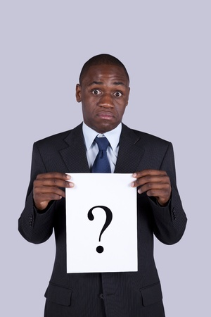 African businessman with a big question photo