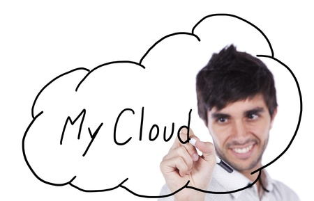 cloudshape: Happy businessman drawing his cloud service on the whiteboard (isolated on white)