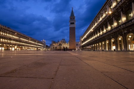 Evening wide view of Piazza Sao Marco in Venice photo