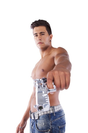 Powerful young man with a gun (isolated on white) Stock Photo - 16466168