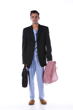 Businessman dress with nightclothes (isolated on white) Stock Photo - 16384326