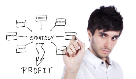 Men writing a schema at the whiteboard with ideas for a good strategy to make profit Stock Photo - 16466150