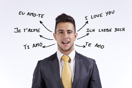 english text: Happy businessman saying I Love You in portuguese, french, english, italian, spanish and german