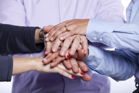 Group of hands together, teamwork concept (selective focus)