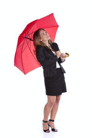 insurance businesswoman holding a red umbrella photo