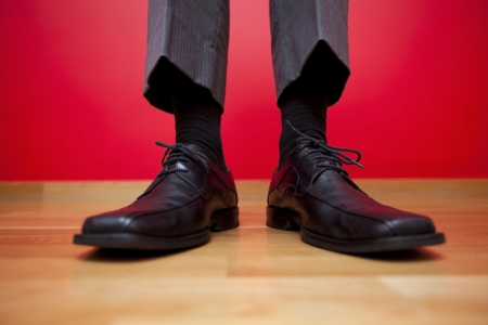 Businessman shoes with black socks Stock Photo