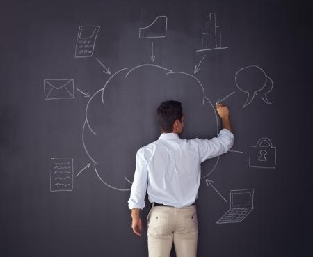 cloudshape: Businessman writing a cloud computing diagram on the chalkboard