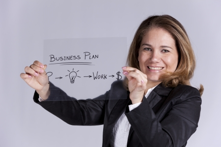 breaking new ground: Businesswoman with a strategy plan to be successful in her business (selective focus) Stock Photo