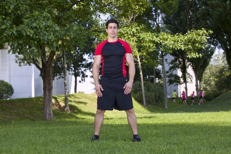 Athlete man at the city park