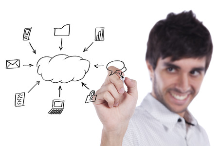 cloudshape: Businessman writing a cloud computing diagram on the whiteboard (selective focus)
