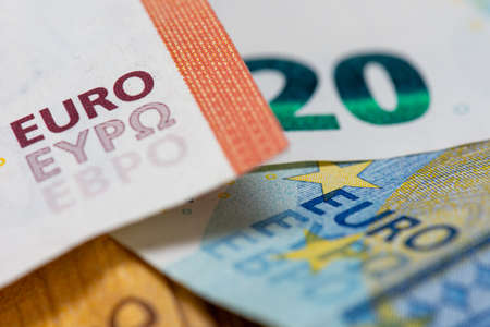 """Close-up view on euro bank notes with the word """"euro"""" Banque d'images"""