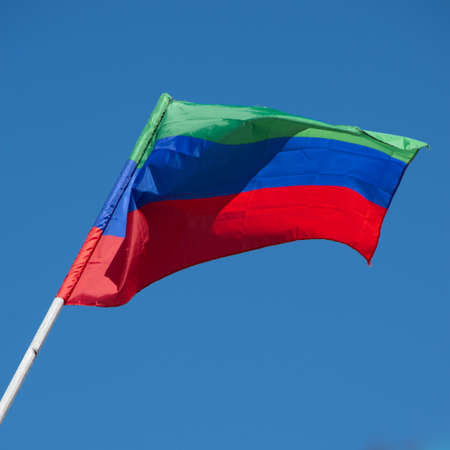 Flag of the Republic of Dagestan (Russian Federation), blue sky