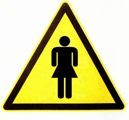 symbole: triangle with woman Stock Photo