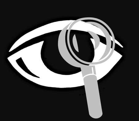 symbole: Eye with magnifying glass Stock Photo