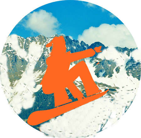 wintersport: Wintersport, snowboarder, symbole, Stock Photo