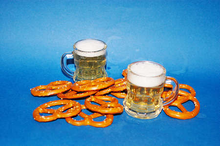 beer and pretzel Stock Photo