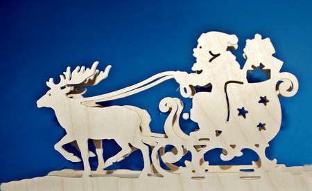 symbole: Santa Claus and his reindeer slide Stock Photo