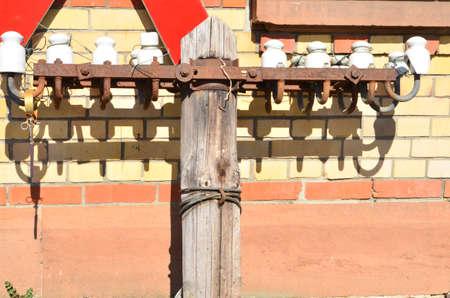 insulators: insulators for old landlines Stock Photo