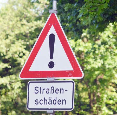 earthwork: sign road damage