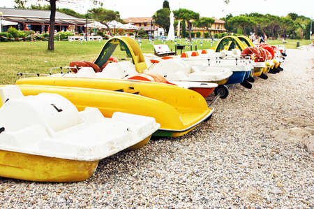 watersports: pedalos on shore