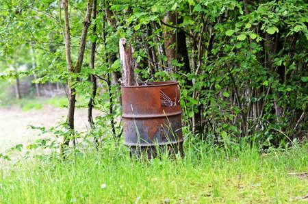 Old oil drum Stock Photo