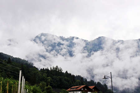 white clouds and blue mountains Banco de Imagens