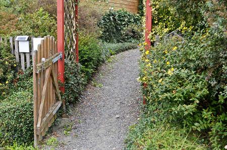 garden gate: Garden Gate and path Stock Photo