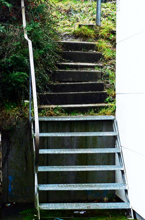 banisters: old steel staircase with banisters-