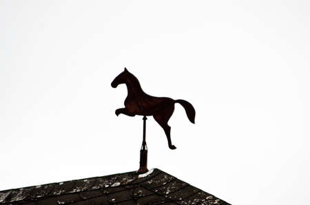 anemometer: anemometer with tin horse sculpture Stock Photo