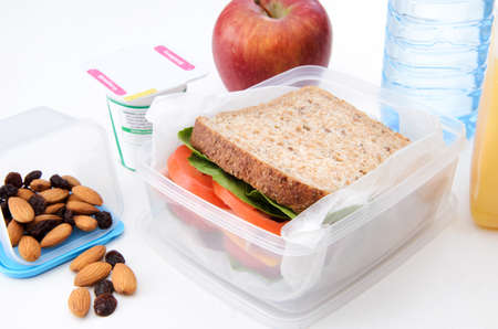 통밀 샌드위치, 사과, 말린 과일, 견과류, 흰색에 고립 된 요구르트와 함께 건강 도시락 스톡 사진