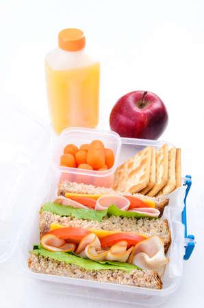 학교 나 바쁜 성인을위한 도시락 샌드위치 스톡 사진