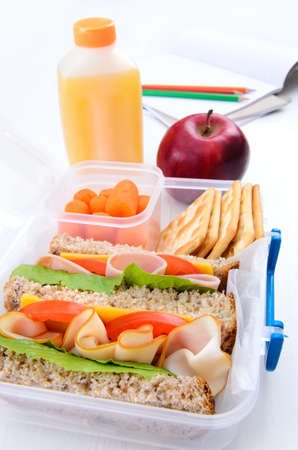 Lunch box with turkey and ham sandwich, crackers, baby carrots, apple and orange juice  photo