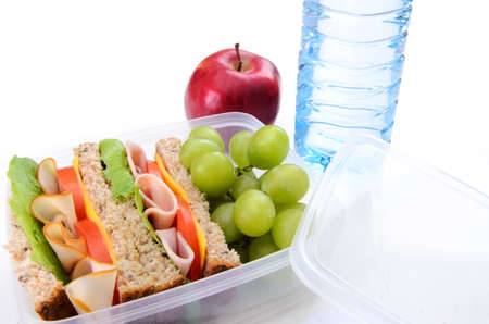 Lunchbox with turkey, ham sandwich, apple, grape and water  photo