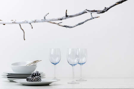 Christmas decoration table display in silver frosty icy tone, simple minimalist elegant design Stock Photo - 15555958