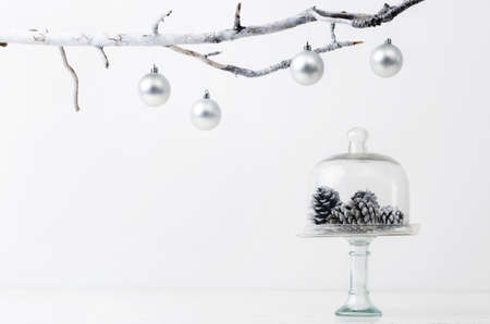 modern christmas baubles: Christmas decoration pinecones in silver frosty icy tone, simple minimalist elegant design