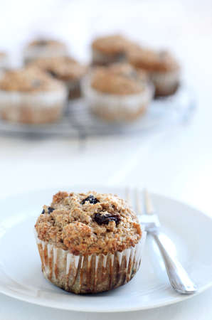 Healthy wholewheat bran muffin, a nutritious and fibre rich breakfast  Stock Photo - 15564604