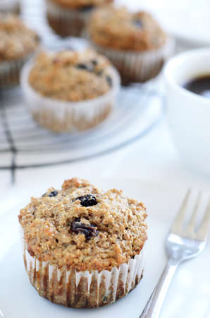Healthy wholewheat bran muffin, a nutritious and fibre rich breakfast  Stock Photo - 15564686