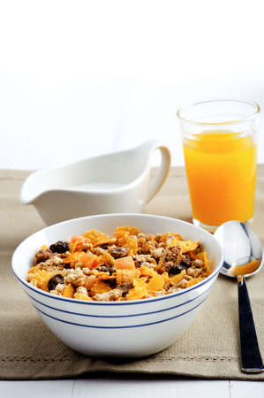 oj: Diet friendly granola with milk and oj Stock Photo