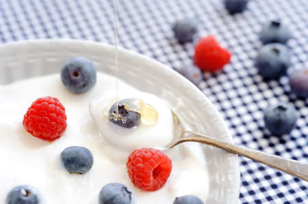 Plain yoghurt topped with blueberry and raspberry  Stock Photo