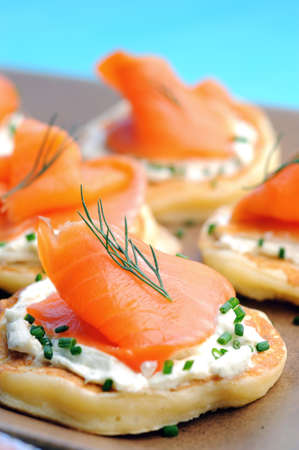 smoked: Platter of bite size smoked salmon appetisers suitable for a party