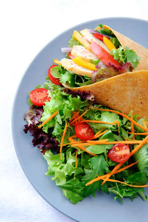 Delicious healthy meal consisting of a chicken burrito with plenty of fresh raw salad  Stock Photo - 15565877